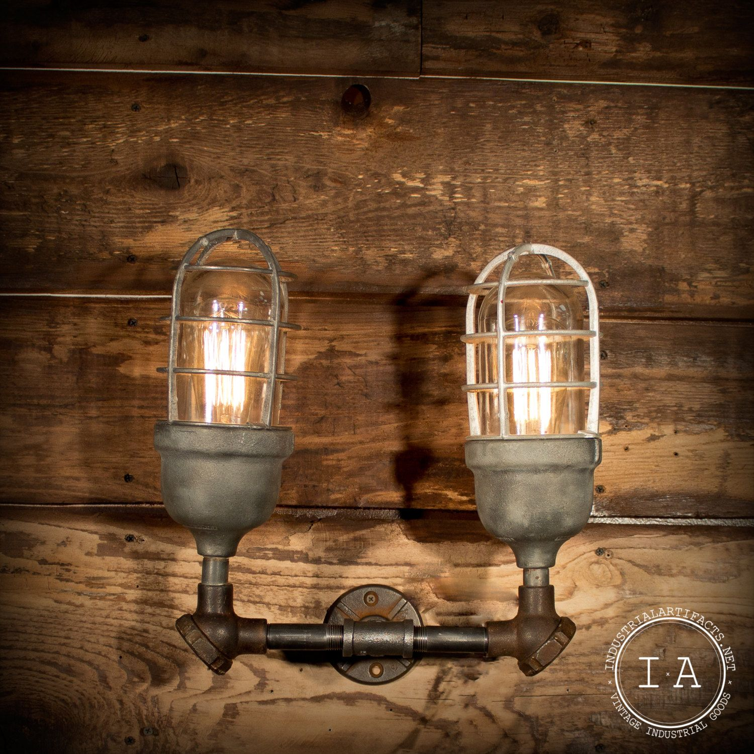 Decorative Antique Wall Sconces : Vintage Industrial Double Explosion Proof Wall Sconce Steampunk Decor Crouse Hinds. USD 325.00, via ...