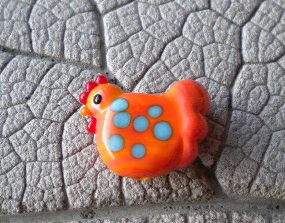 PENNY Chicken  Focal Lampwork Bead by Cherie Sra R114 Flameworked Focal Glass Bead