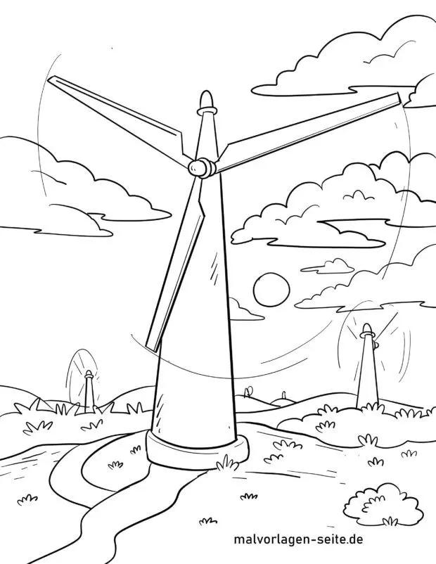 malvorlage windkraftanlage  energie umweltschutz