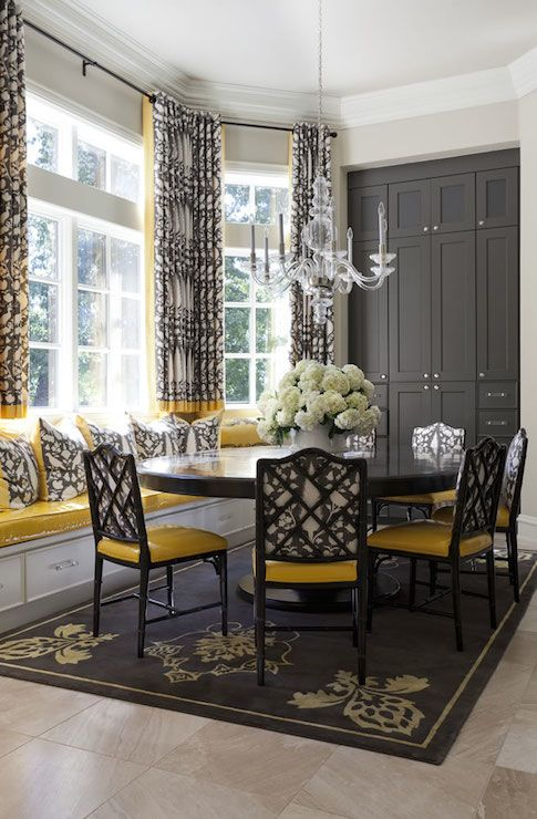 Yellow And Gray Dining Rooms Transitional Dining Room Tobi