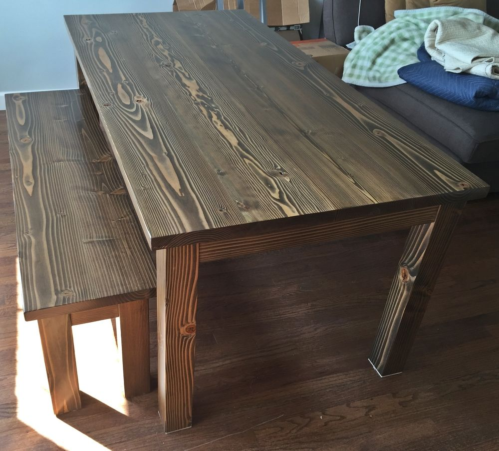 Dark Walnut Dining Table And Bench