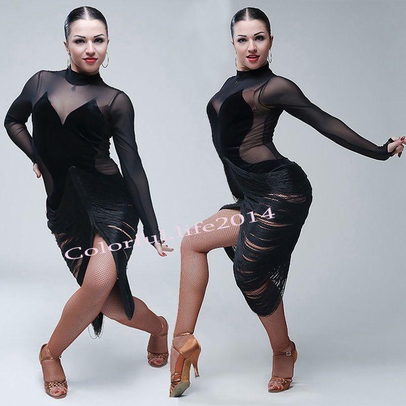 a203f2aa1 Dancewear Sexy Adult Latin Dance Performance Tassels Dress Rumba ...