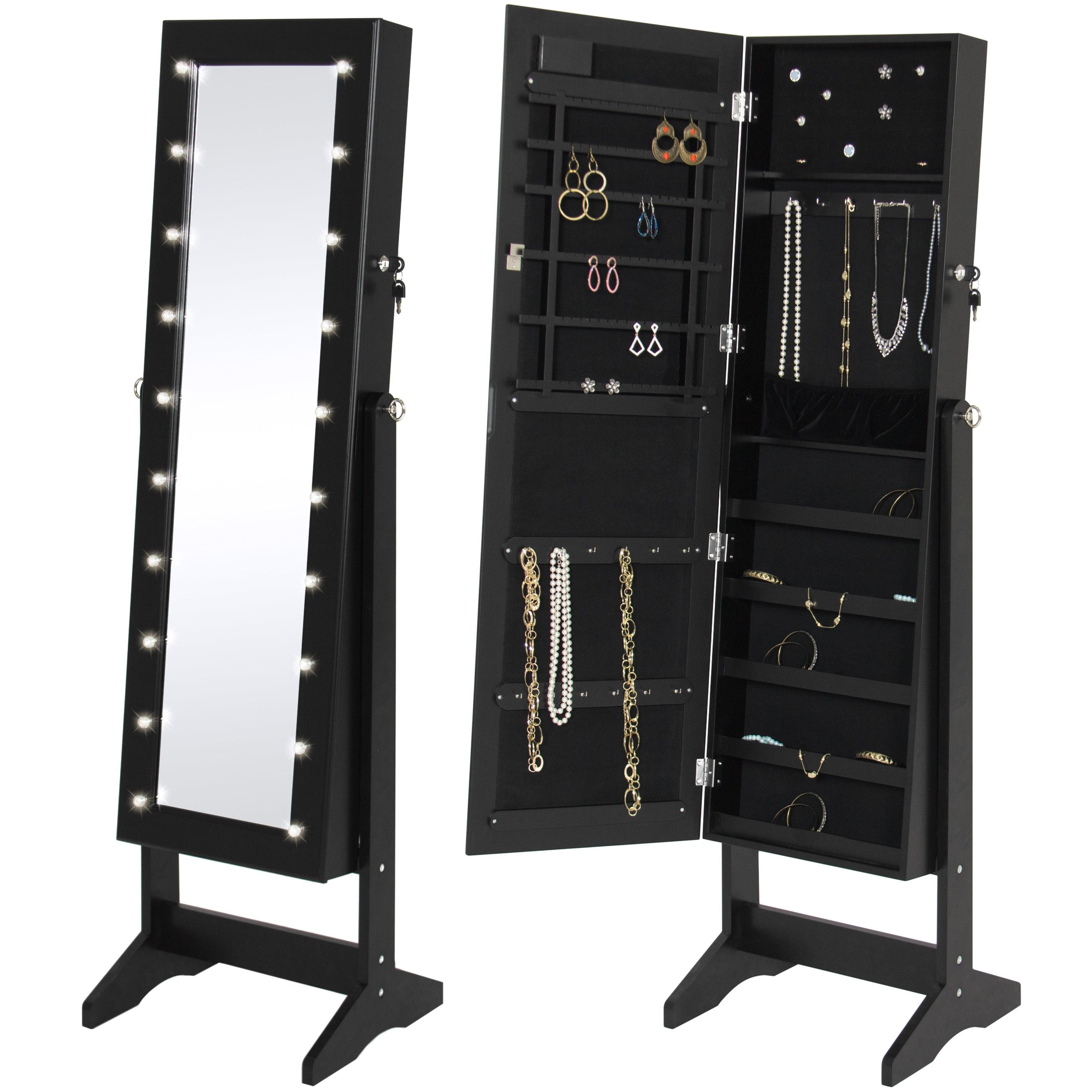 Black Mirrored Jewelry Armoire With Stand Mirror In 2020 Jewelry Cabinet Mirror Jewelry Armoire Jewelry Mirror