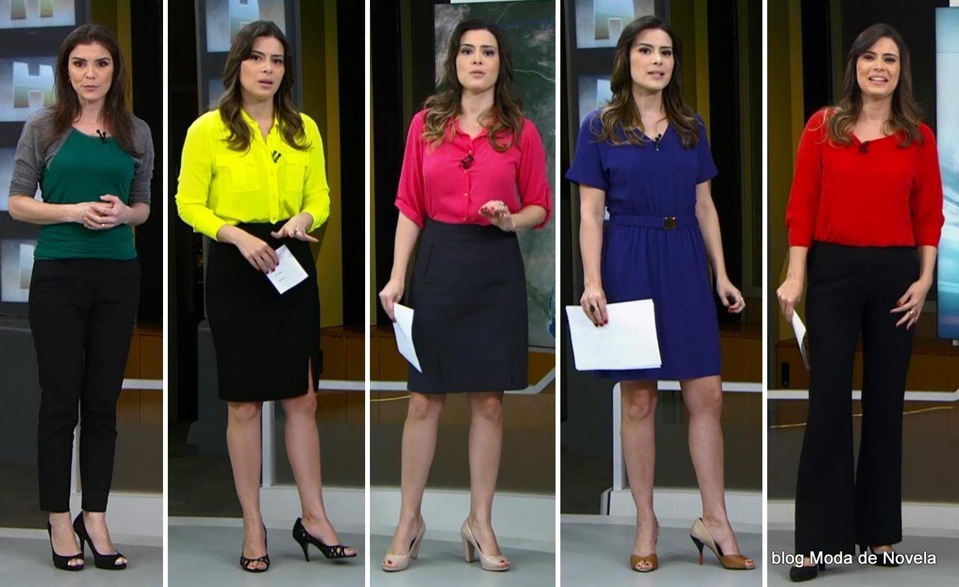 204632cbd Looks de Eliana Marques e Michelle Loreto na previsão do tempo do Jornal  Hoje nos dias 19 a 23 de maio