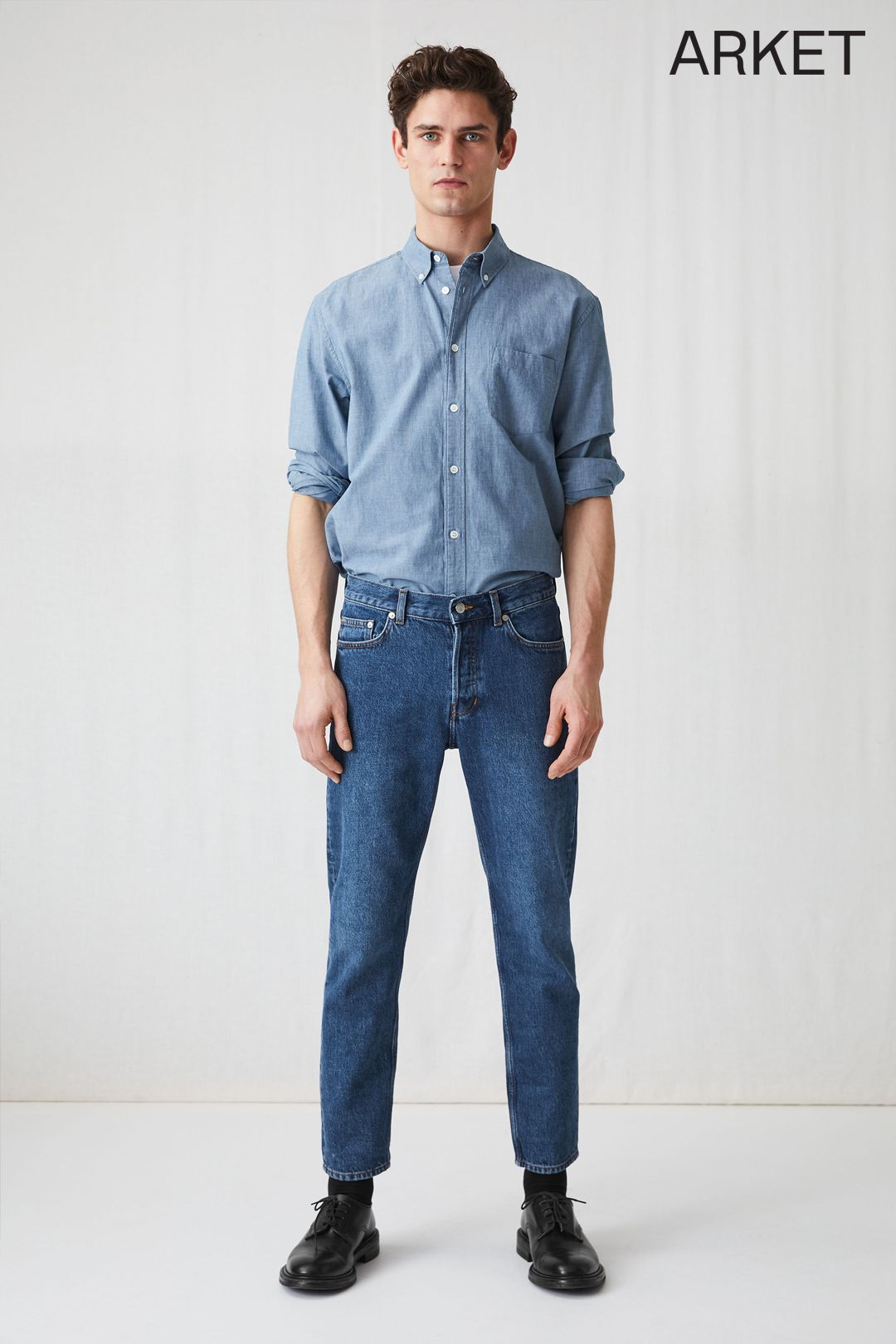 Regular Cropped Jeans Blue Jeans Blue Denim Shirt Outfit