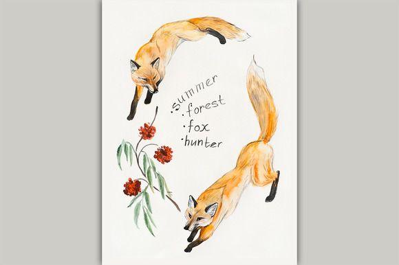 Foxes hunt. by maria.kytyzova on Creative Market