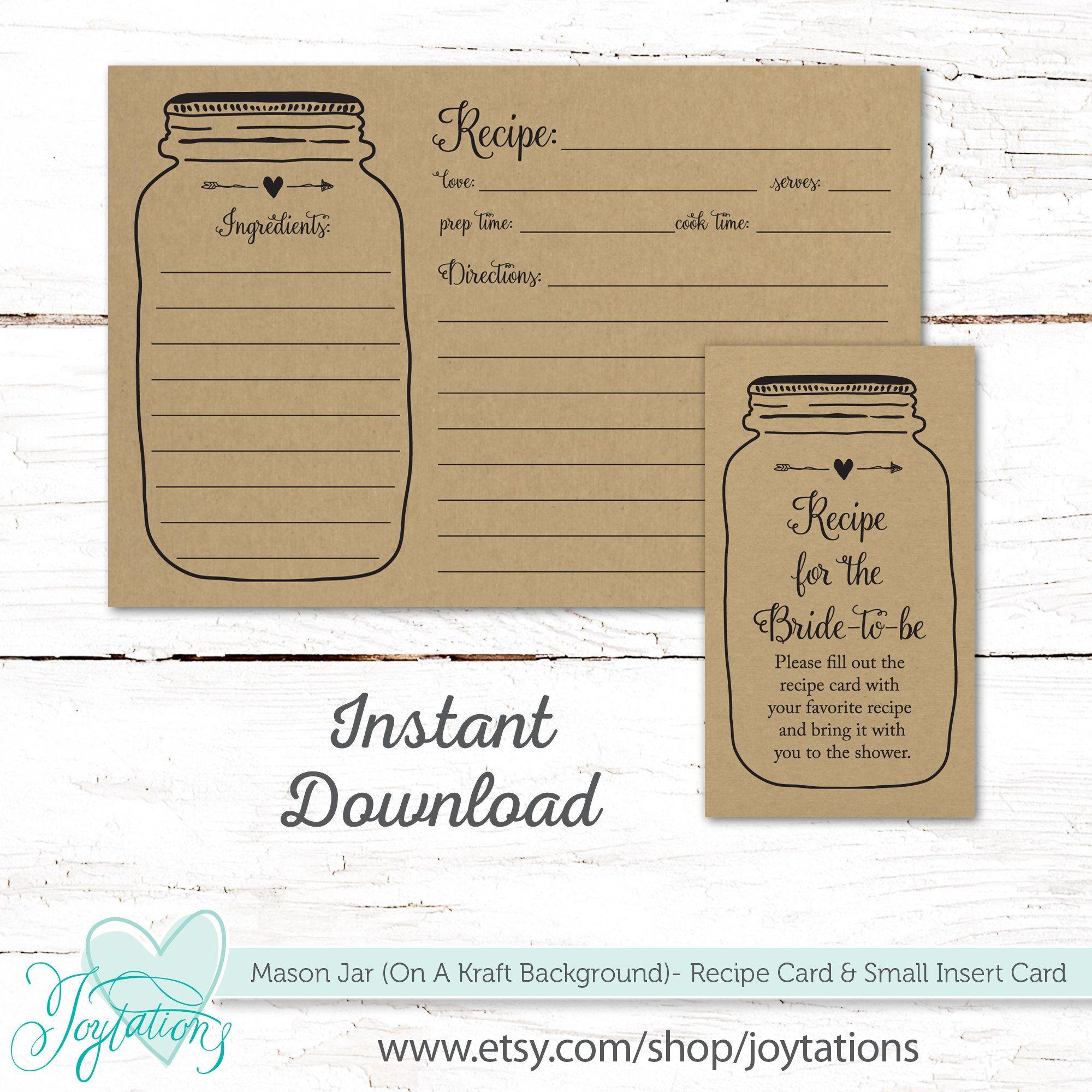 Mason Jar Kraft Recipe Card And Insert Card Instant Download