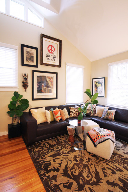 Gorgeous Living Room Design Interior With Black Leather Sofa Furniture And Tropical Throw Pillows For Couch