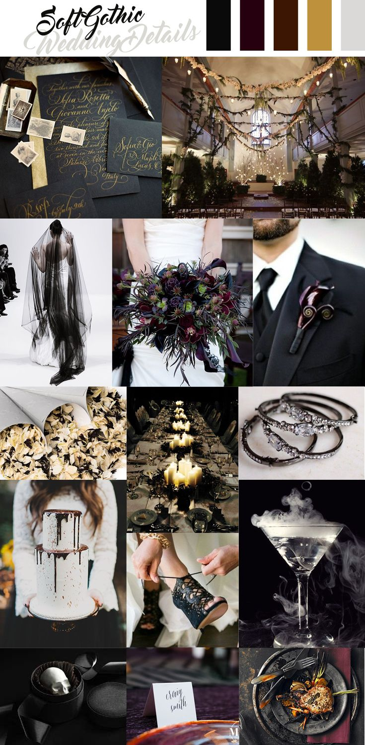 Wedding decorations with feathers  Soft Gothic Wedding Inspiration Dark and Moody Details More