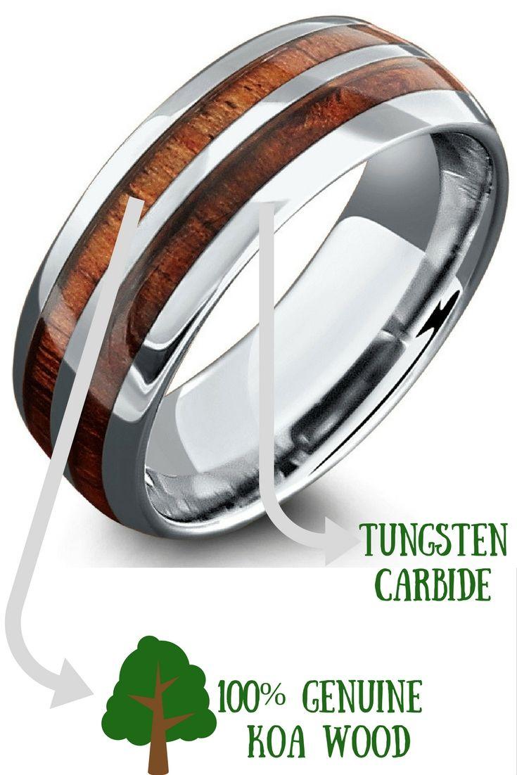 8mm Silver Tungsten Koa Wood Ring with Tungsten Stripe Tungsten