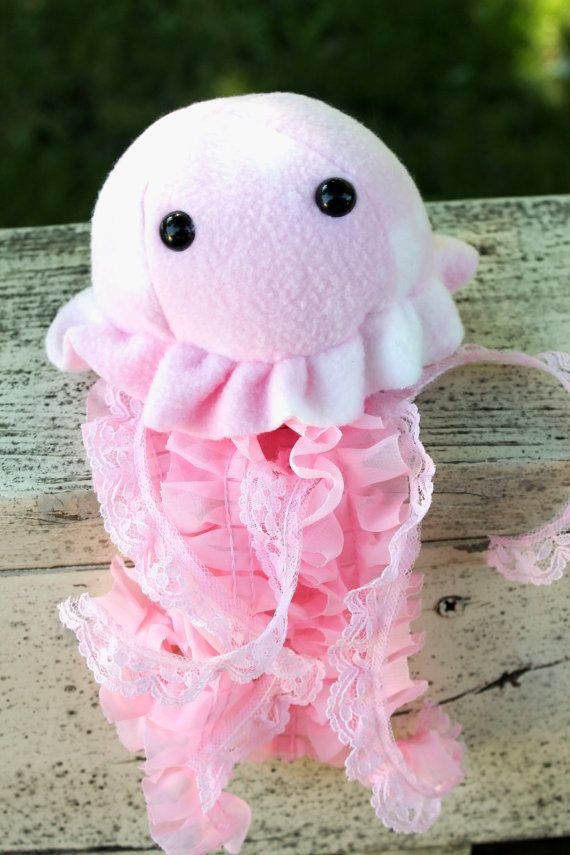 Pink Jellyfish Stuffed Animal Plush Toy Jellyfish Plushie Lace Jellyfish Pink Stuffed Animals Sewing Stuffed Animals Diy Stuffed Animals