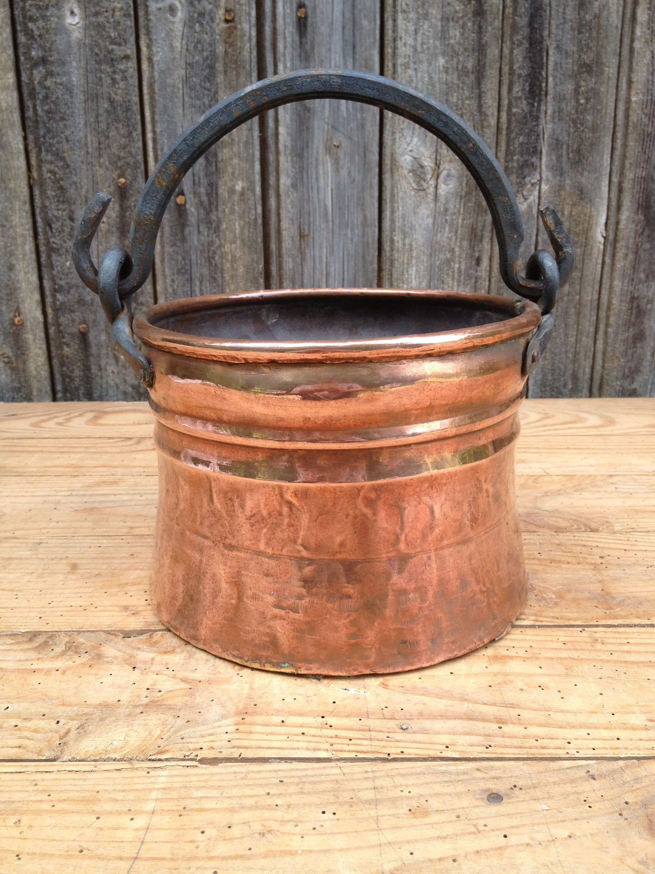 Small copper cauldron copper pot wrought iron handle france at the end of 19th century - Cache pot cuivre ...