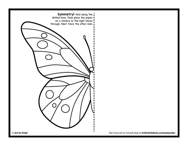 Symmetry ART Activity 5 Free Coloring Pages Art for Kids – Butterfly Worksheets