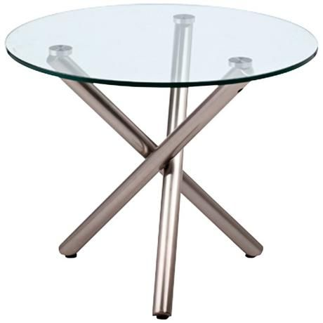 Lux Brushed Nickel Glass Top Round Side Table   #3R844 | LampsPlus.com