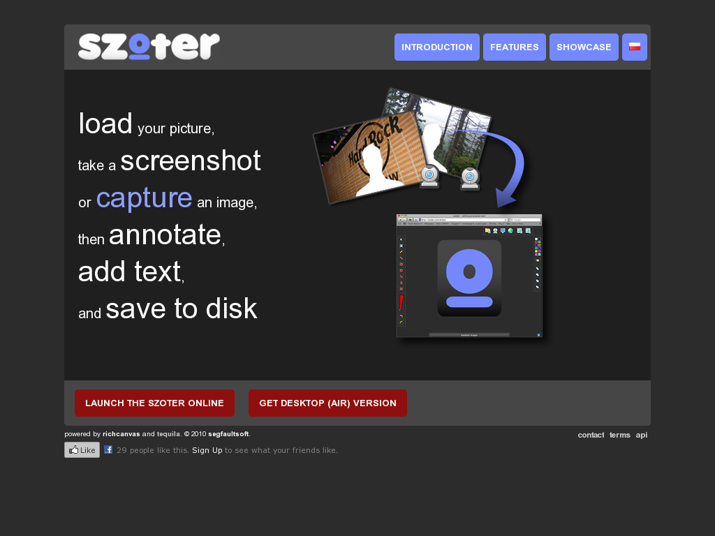 Szoter is a free online tool for annotating images that are stored on your computer. You can also use Szoter to capture and annotate screenshots. You can use Szoter on the web or download the Adobe Air version of it to run on your desktop. Either way you can upload images, draw on those images, and type on those images. When you're done annotating and drawing on your images you can save them to your local computer or share them online through your favorite social networks.