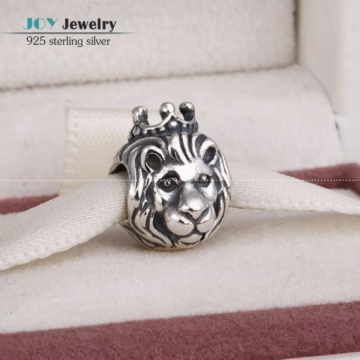 Big Sale Antique Lion King Head Charms Beads 925 Sterling Silver Animal Charm Fits European Bracelet DIY Jewelry Making ER356