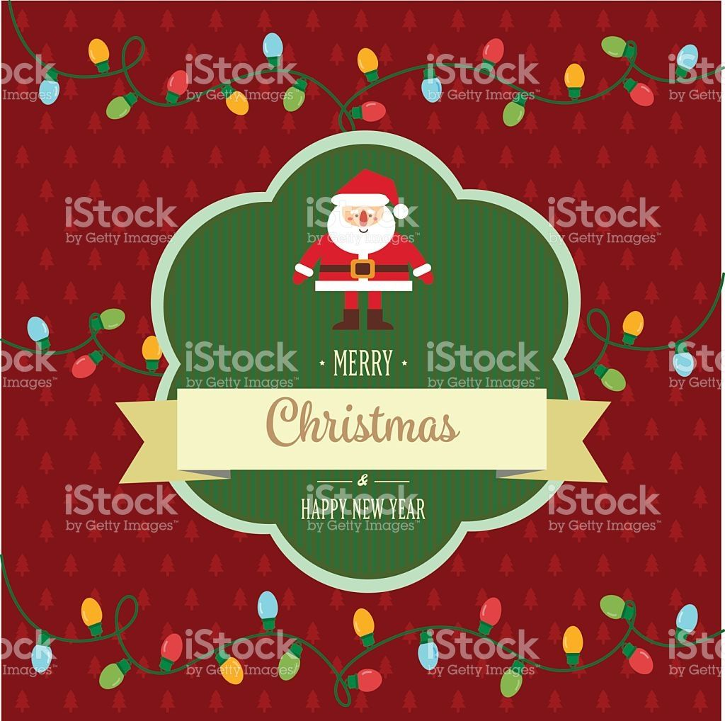 Vector Illustration Of New Year And Christmas Card In Vintage Style
