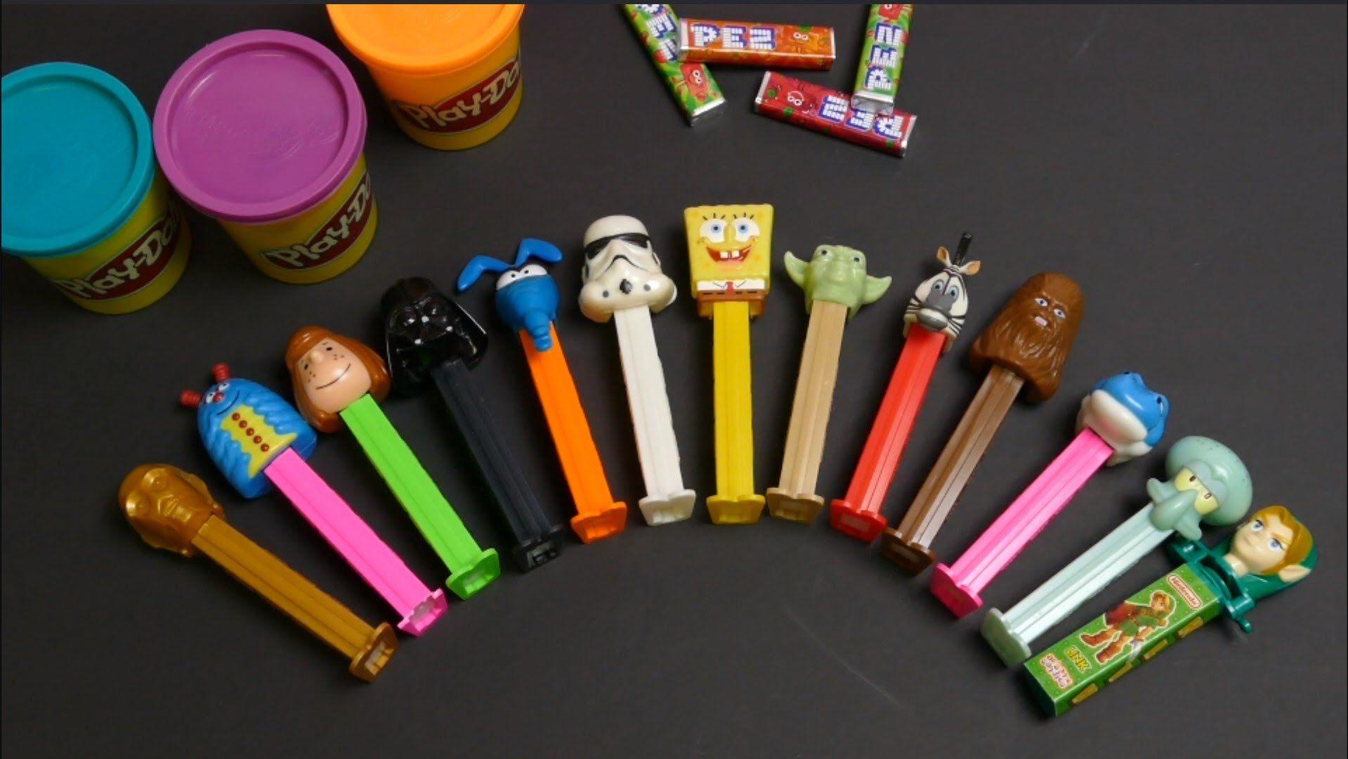 Star Wars Chubaka, Yoda, Blue Elise, Stormtrooper PEZ Dispenser & Play-Doh