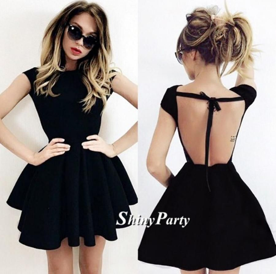 Custom made newest short black backless prom dress black backless