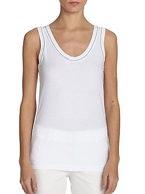 raw edge binding held in place with beading. Clean and chic.  Brunello Cucinelli Monili Beaded Tank