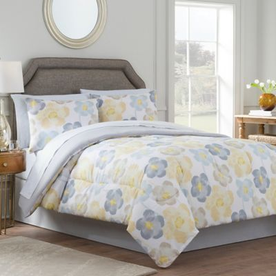 Antonia Reversible Comforter Set In Yellow Grey Www Bedbathandbeyond