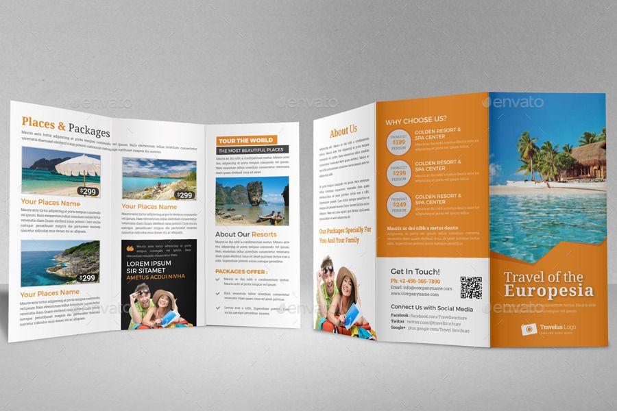 Travel Trifold Brochure InDesign Template v2 #Brochure, #Trifold