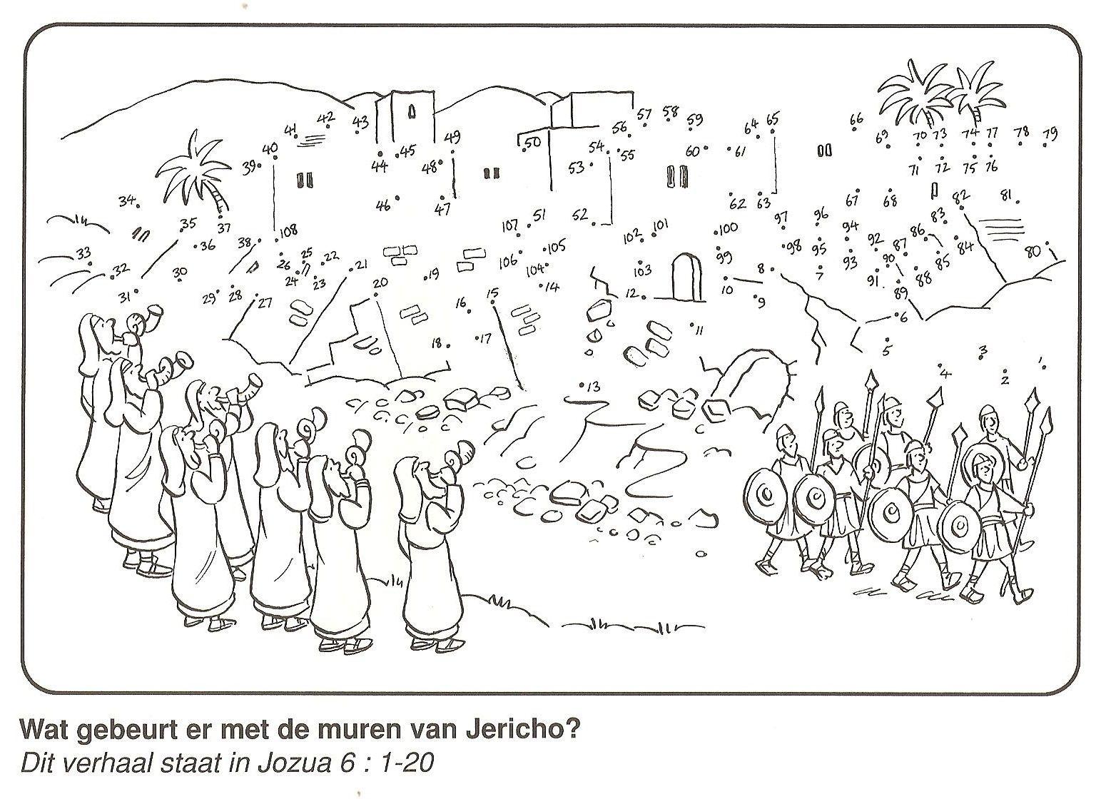 De muren van jericho van stip naar stip bijbelse knutselwerkjes