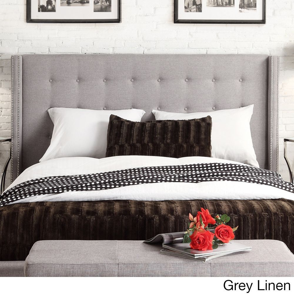 INSPIRE Q Marion Nailhead Wingback Tufted Queen-sized Headboard |  Overstock.com Shopping -