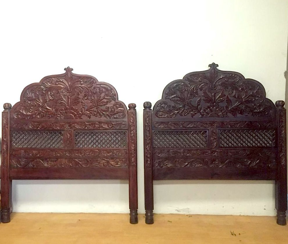 Hand Carved Rajasthani Arch Headboard Made From Solid Neem Wood Truly A Work Of Art Arched Headboard Hand Carved Headboard Wooden Headboard