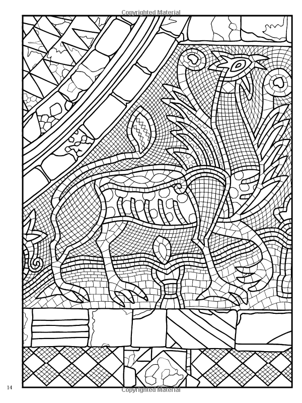 Creative Haven Mosaic Masterpieces Coloring Book Dover Design Books Marty Noble For Adults 9780486497488