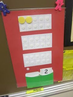 Tens frame practice at calendar time using Velcro and counters.