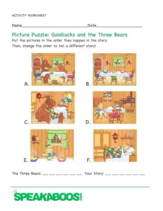 sequencing and other activities with fairy tales and other stories – Goldilocks and the Three Bears Worksheets