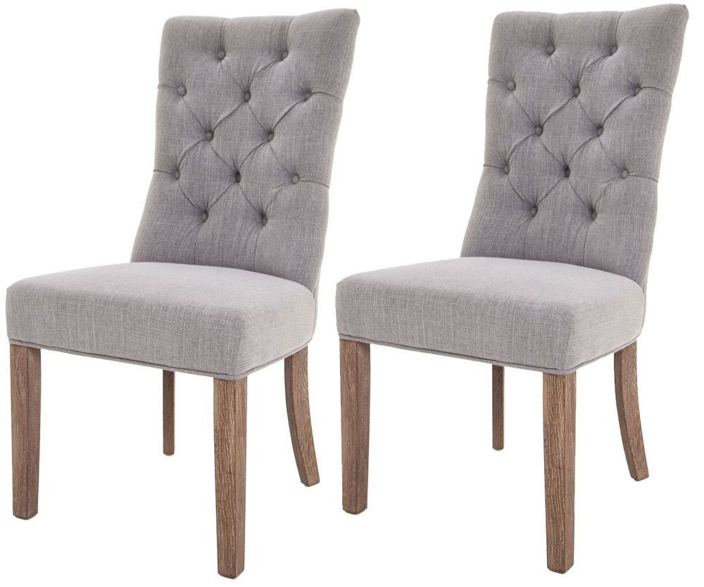 Rv Astley Soft Grey Linen Fabric Dining Chair Pair Gray Dining