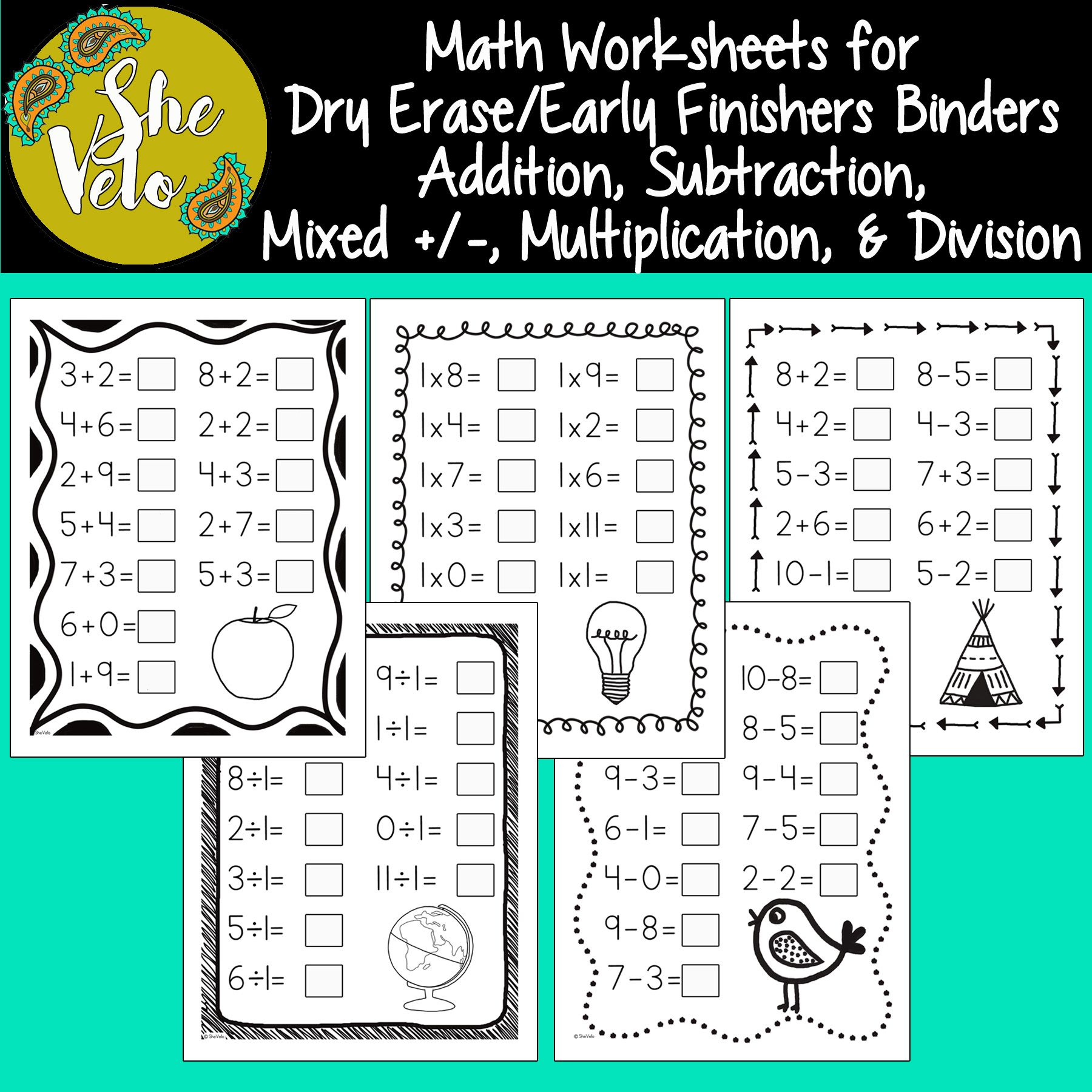 Math Worksheets For Dry Erase Pockets Early Finishers