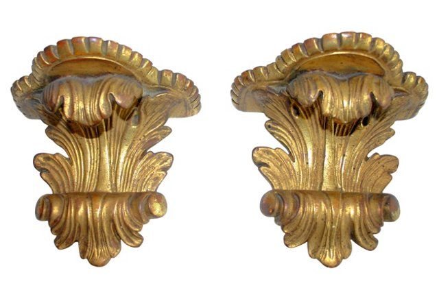 Gilt Italian Shelves, Pair