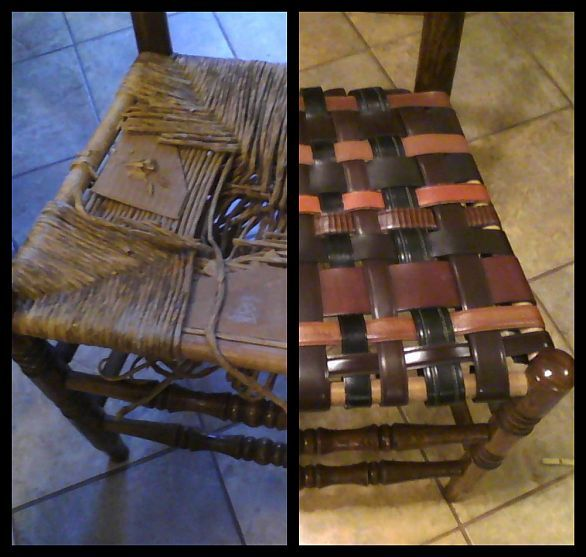 Renewed Rush Seat Chairs...I have some ladder back chairs jus sitting in the basement...I am going to thrift store.. getting some belts..and try this! Awesome idea!