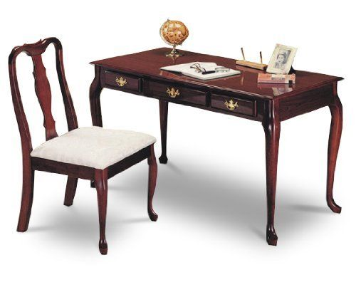 Cherry Finish Queen Anne Writing Desk With Chair By The Furniture Cove 126 63 42 L X 22 W X 30 H Desk Has Middl Ikea Wood Desk Desk And Chair Set Furniture
