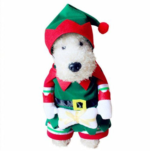 8dab8cab8e74 PetBoBo Dog Cat Pet Christmas Elf Costumes Suit Hoodies Coat Winter  Clothing Apparel Puppy Outwear Costume