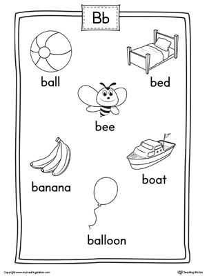 Letter B Word List With Illustrations Printable Poster B Words List Letter Worksheets For Preschool Letter Sound Activities