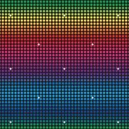 Een gigantische wanddecoratie met een felgekleurde discoprint. Afmeting: 900 x 120cm! Verander <br>uw huiskamer of <br>zaal binnen 10 minuten in discostijl! U kunt deze wanddecoratie eenvoudig combineren met andere <br>wanddecoraties <br>om in de juiste sfeer te komen. Maakt ieder themafeest compleet. foto 1
