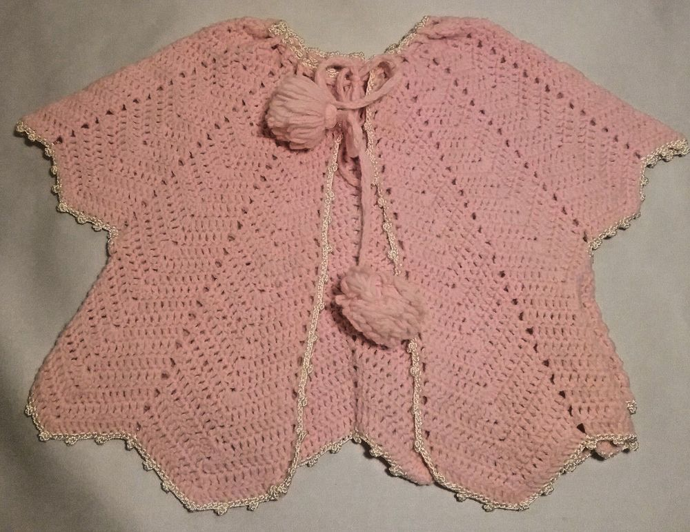 b0e1d85bde12 Vintage Baby Girl Sweater 0-12 Mos Pink Hand Knitted White Trim ...