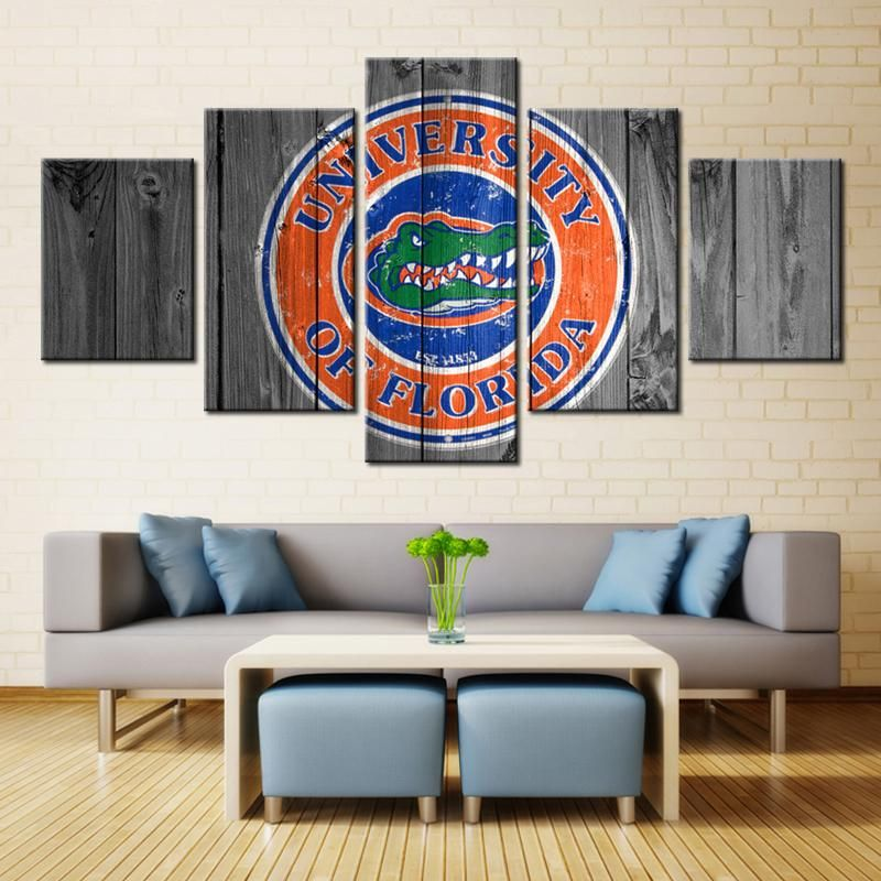 Florida Gators Ncaa Football 5 Panel Canvas Wall Art Home Decor Florida Gators Room Football Canvas Florida Gators