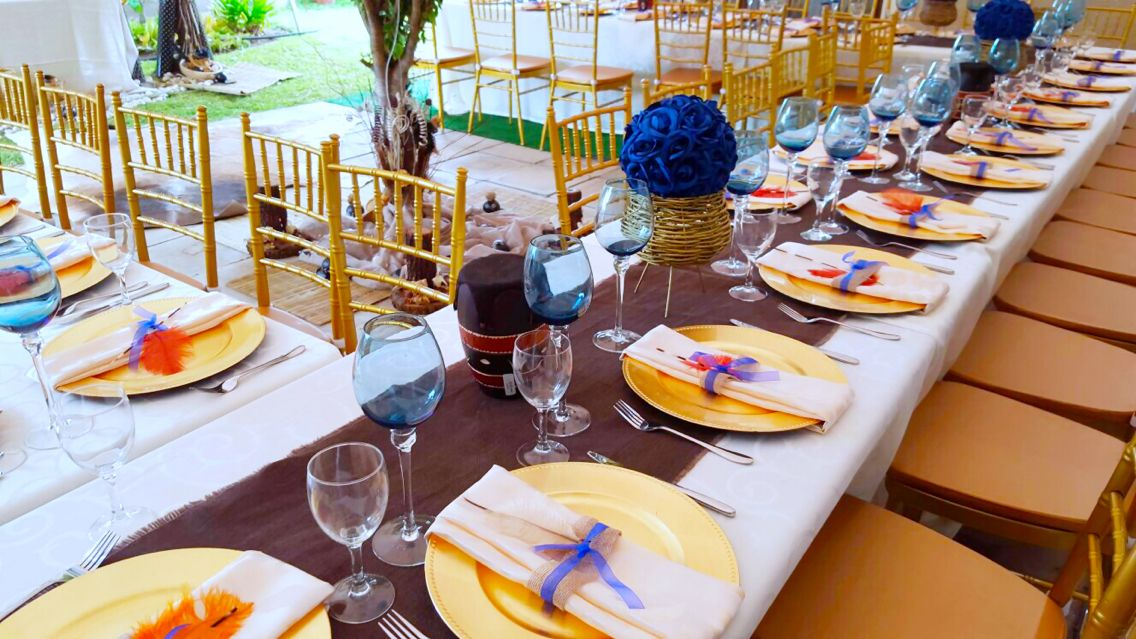 Royal Blue And Gold African Traditional Wedding Decor
