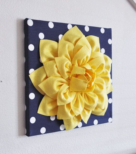 Wall Flower -Yellow Dahlia on Navy and White Polka Dot 12 x12 ...