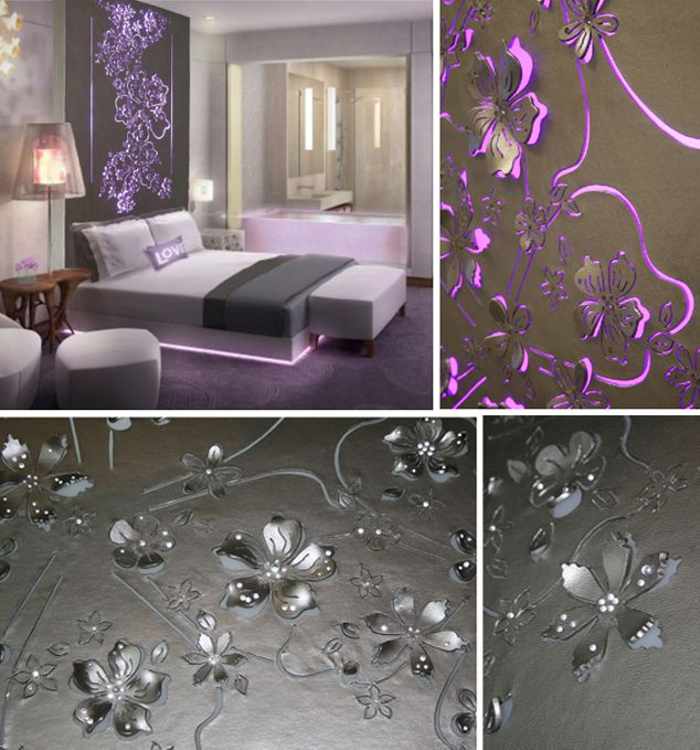 14 Dreamy Diy Headboard Ideas: Faux Leather Laser Cut Floral Shapes & Glass Beads LED