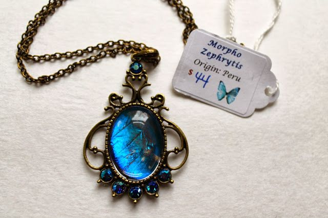 Real Morpho Zephrytis Butterfly Wing Necklace