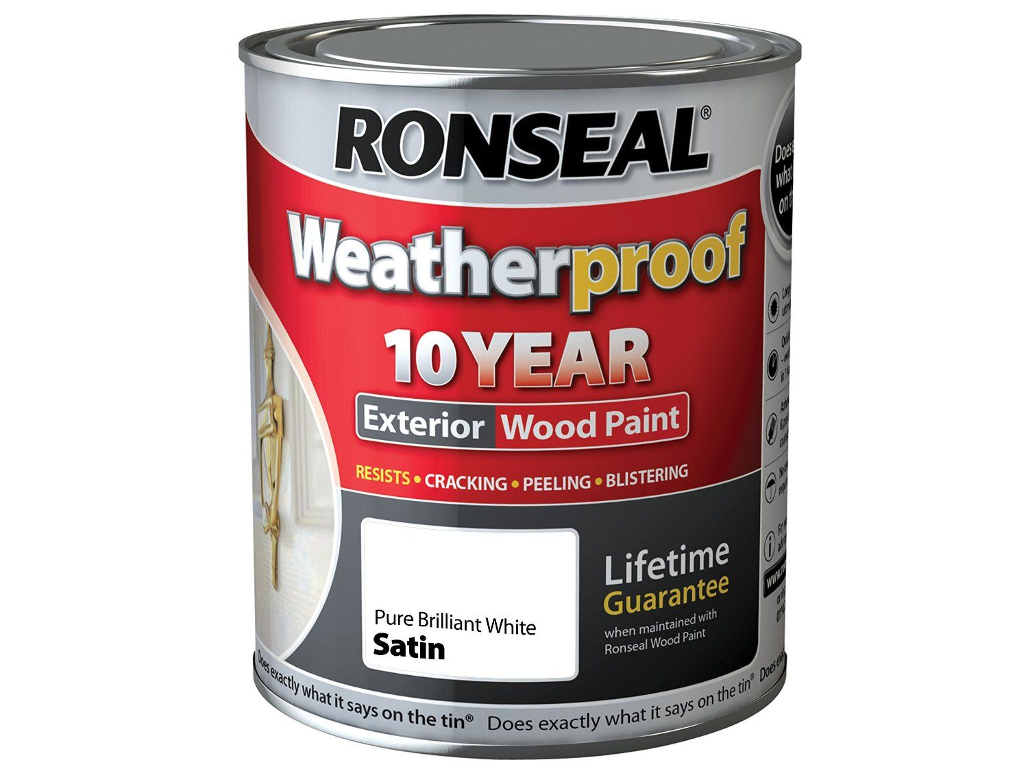 Ronseal Rslwppbws750 750 Ml Weatherproof Exterior Wood Paint Brilliant White Satin