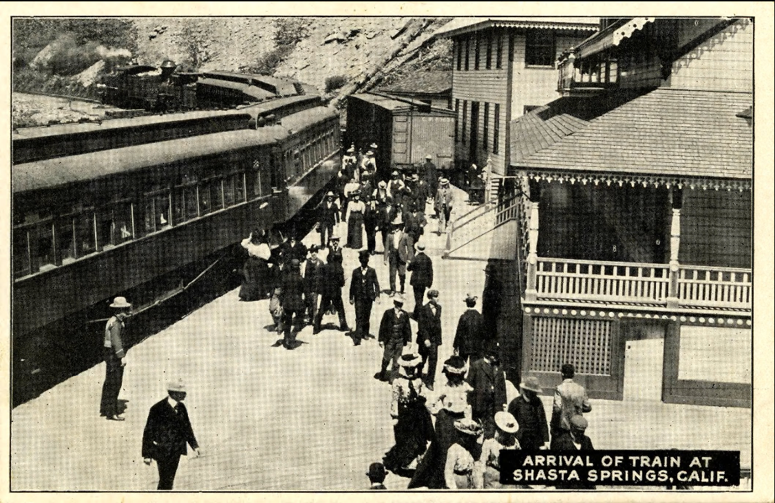 Arrival of train at Shasta Springs, Calif., ca. 1910s. Hagley Museum Digital Archives.