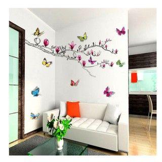 Muursticker vlinder op tak kinderopvang kinderkamer for Kinderkamer versiering