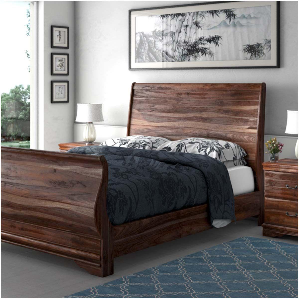 Sleigh Back Solid Wood Platform Bed 7pc Bedroom Furniture Set